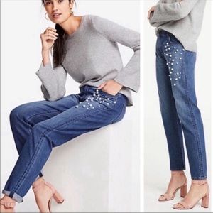 Like New Ann Taylor The Girlfriend Jeans w/ Pearls